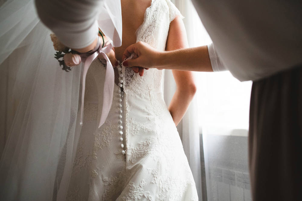 Vestidos de novia de finales de stock